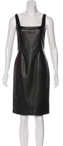 Ralph Lauren Black Label Leather Knee-Length Dress