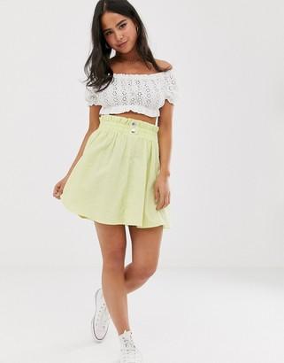 Asos DESIGN seersucker mini skirt with shirred waistband