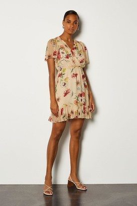 Karen Millen Floral Wrap Fluted Sleeve Dress