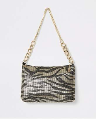 River Island Printed Chainmail Bag - Gold