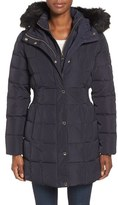 Calvin Klein Women's Hooded Water Resistant Puffer Coat With Faux Fur Trim