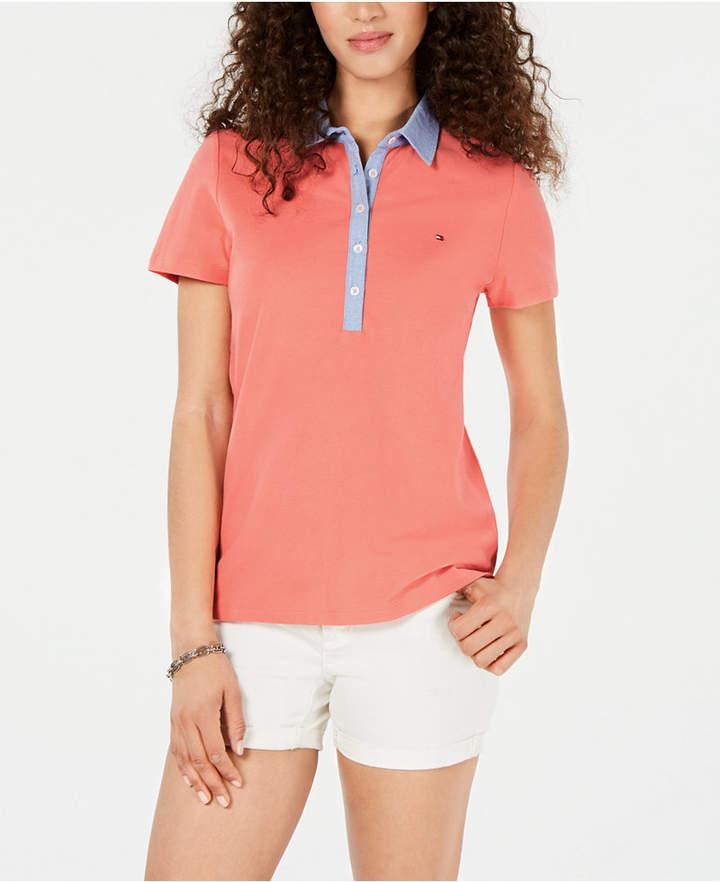 Plus Size Chambray Collar Polo Shirt