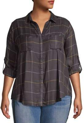 Lord & Taylor Plus Plaid Button-Front Roll-Tab Shirt