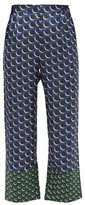Biyan Pomelo Polka-dot Silk-twill Trousers - Womens - Blue Multi