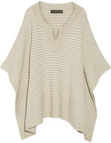 The Elder Statesman Ribbed Cashmere Poncho - Beige