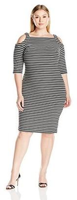 Gabby Skye Women's Plus Size Full Figured Cold Shoulder Striped Sheath Dress