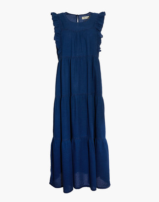 Madewell Indigo Ruffled-Bodice Tiered Midi Dress
