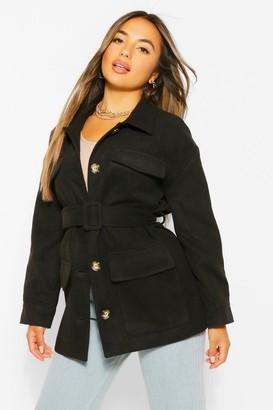 boohoo Petite Wool Look Belted Jacket