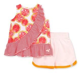 Burt's Bees Baby Girl Organic Watercolor Grapefruit Tank Top & Shorts, 2pc Outfit Set