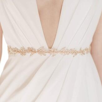 SWEETV Gold Bridal Belt with Rhinestones Handmade Wedding Dress Belt Crystal Leaf Bridesmaid Sash with Organza