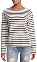 R 13 Cotton Distressed Breton Striped Tee