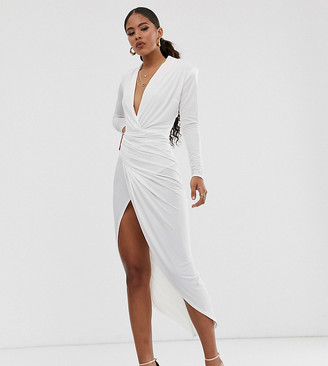 John Zack Tall plunge front asymmetric maxi dress in white