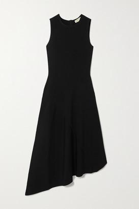 MICHAEL Michael Kors Asymmetric Ribbed Stretch-jersey Midi Dress - Black