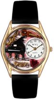 Whimsical Watches Women's C0640014 Classic Gold Music Teacher Black Leather And Goldtone Watch