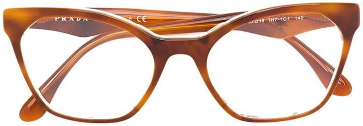 f338285e65ab Prada(プラダ) ブラウン レディース メガネ - ShopStyle(ショップスタイル)