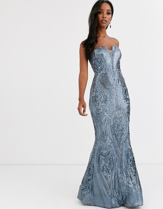 Bariano bandeau fitted sequin gown in antique blue