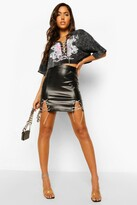 Thumbnail for your product : boohoo Diamante Lace Up Faux Leather Mini Skirt