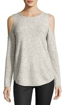 Generation Love Annie Cold-Shoulder Donegal Cashmere Top, Light Gray/Black