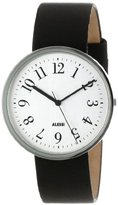 Alessi Unisex Automatic Watch with White Dial Analogue Display and Black Leather Bracelet AL6003