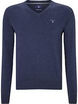 Gant Lightweight Cotton V-neck Jumper, Denim Blue