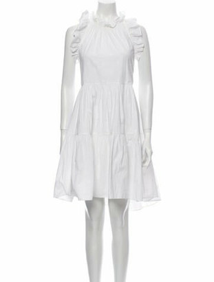 Ulla Johnson Mock Neck Knee-Length Dress White