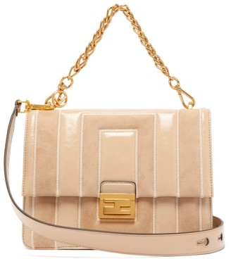 Fendi Kan U Medium Leather And Suede Cross-body Bag - Womens - Beige