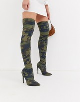 Asos DESIGN Kendra stiletto thigh high boots in camo print
