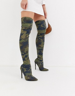 Asos Design DESIGN Kendra stiletto thigh high boots in camo print-Green