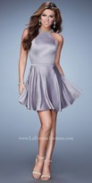 La Femme Keyhole Bow Satin Cocktail Dress