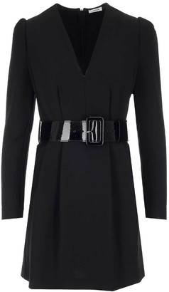P.A.R.O.S.H. Belted V-Neck Mini Dress