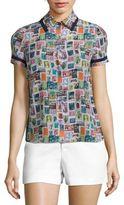 Alice + Olivia Oswald Printed Silk Shirt