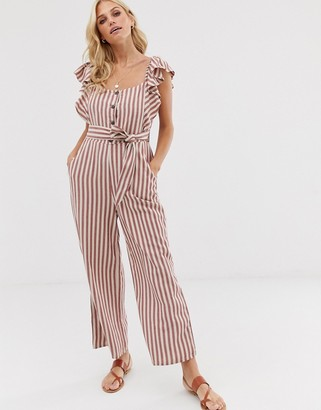 Stradivarius striped jumpsuit in pink