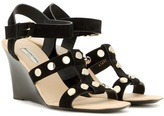 Balenciaga Embellished suede wedge sandals