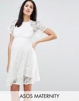 Asos Flutter Sleeve Lace Skater Dress