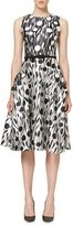 Carolina Herrera Printed Sleeveless Belted A-Line Dress, Black/White