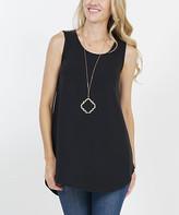 Lydiane Women's Tee Shirts BLACK - Black Sleeveless Curved-Hem Top - Women