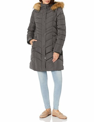 Tommy Hilfiger Women's Long Chevron Quilted Down Coat with Fur Trim Hood