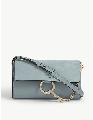 Chloé Faye leather and suede wallet-on-chain