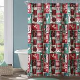VCNY Holiday Themed Christmas Patchwork Shower Curtain