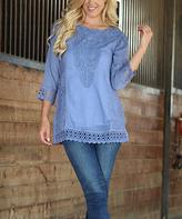 Denim Blue Lace Overlay Semi-Sheer Boatneck Tunic