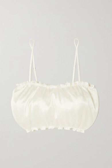Thumbnail for your product : I.D. Sarrieri Lombard Street Ruffled Silk-blend Satin Soft-cup Bandeau Bra - Cream