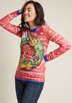 ModCloth Deck the Paws Graphic Tee in L - Long Regular Waist