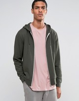Asos Zip Up Hoodie In Khaki