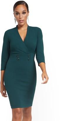 New York & Co. Surplice Button-Waist Sheath Dress - Magic Crepe