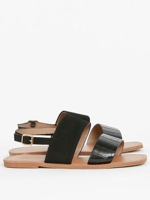 Evans Extra Wide Fit Two Part Simple Sandal - Black