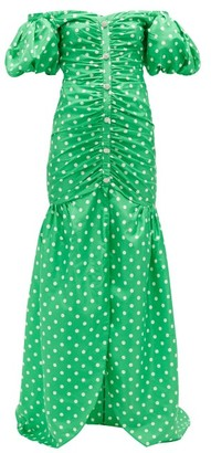 Alessandra Rich Off-the-shoulder Polka-dot Silk Gown - Green White