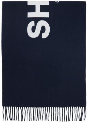 Comme des Garçons Shirt Navy Wool Logo Scarf