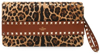 Valentino Rockstud Leopard-Print Canvas & Leather Clutch
