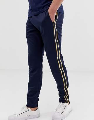 Hollister leg logo side piping cuffed sweatpants in navy