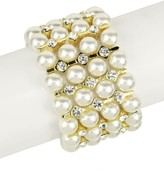 Saachi Imitation Pearl & Crystal Layer Stretch Bracelet